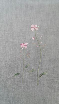 My work -분홍바늘꽃. 러너 / 회색 광목