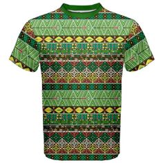 Green Tribal Aztec Pattern with Birds and Flowers Men's Sport Mesh Tee Aztec, Mesh, Birds, Sport, Green, Flowers, Pattern, Tops, Fashion