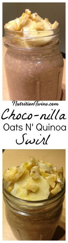 Choco-nilla Oats N' Quinoa Swirl   Only 312 Calories   Easy to Make, Nutrient Packed Breakfast   Great On-the-Go   Packed with Fiber & Protein   For MORE RECIPES, Fitness & Nutrition Tips please SIGN UP for our FREE NEWSLETTER www.NutritionTwins.com