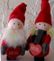 Swedish Christmas Tomte Pair with God Jul Hearts