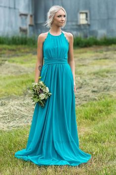 Long High Neckline Turquoise Bridesmaid Dress for Country Wedding