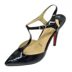 Christian Louboutin Black Patent Leather T-bar Shoes