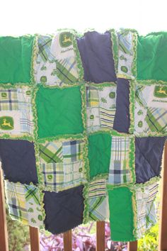 Baby Rag Quilt In a John Deere Design with by CrossGcreations, $84.00