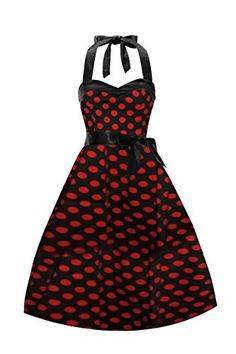 iLover Women Vintage Dresses Polka Dots 50s Rockabilly Wiggle Party Dress ** You can get more details by clicking on the image.