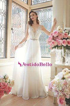 Vestidos de boda atractivos 2016 de la sirena V-cuello tribunal Satén Con apliques espalda abierta US$ 189.99 VTOPBZMHX6Q - vestidobello.com