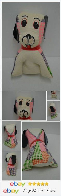 "Vintage Carnival Dog Plush Plastic Ears Collar Plaid Patchwork Stuffed 10"" http://stores.ebay.com/Lost-Loves-Toy-Chest?_rdc=1"