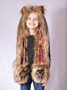 c5483de5 Childrens Coyote Faux Fur Animal Hat with Scarf and Paw Mittens