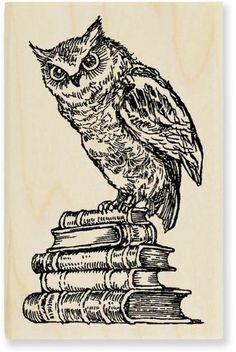 Stampendous Wood Handle Stamp, Literary Owl Image