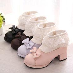 Lolita Kawaii Lace Bow Short Boots