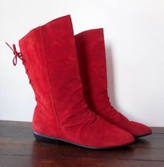 1980s shoes / Red Boots / Suede Boots / Ankle by SlowDownVintage, $28.00
