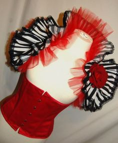 Gothic Burlesque Carnival Steampunk Circus Dandy Stripe Shrug Bolero Costume   eBay