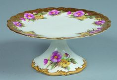 "77: Shelley China Begonia pattern Cake Stand, 4"" h. x 8 : Lot 77"