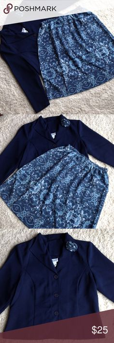 Navy Floral Skirt Set size is 16 petite Size is 16 PETITE, Jacket length is 24 inches, sleeves are 22 inches long, lapel has a detachable floral pin, with 3 buttons on front of jacket, skirt is floral 25 inches long, no pockets in skirt. Blair Skirts Skirt Sets