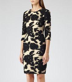 cef11fb7aaa593 Reiss Lavine Flower Bodycon Dress Black Black Bodycon Dress, Dress Black,  Smart Dress,