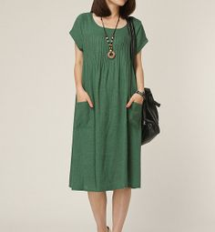 Green Linen dress maxi dress short sleeve dress large size cotton dress casual loose dress linen blouse long women dress plus size dress on Etsy, $59.00