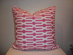 18 x 18  Pink and Off White Annie Selke Links Designer Pillow Cover - Decorative Throw Pillow (13x19 and 18x18 also available)