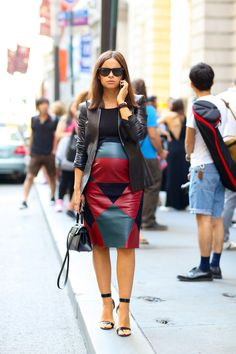 Miroslava Duma... maternity leather skirt #streetstyle #nyfw