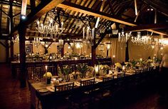 chandeliers hanging in barn