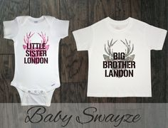 PERSONALIZED NAMES Big Brother Little Sister Camo by BabySwayze