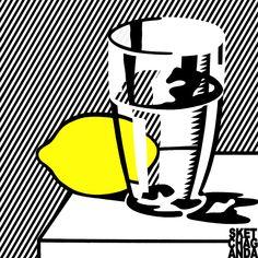 Roy Lichtenstein's Still life with Lemon & Glass gif by Sketchaganda Roy Lichtenstein Pop art