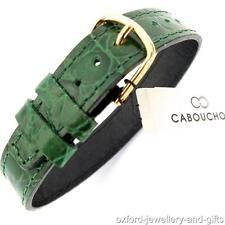 CABOUCHON 14mm 1 PIECE CROC GRAIN DARK GREEN LEATHER WATCH STRAP. LONG EASY FIT
