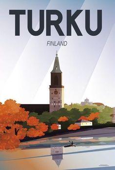 Turku • Finland ~ Caravan studio Designs Nature Illustration, City Illustration, Poster City, Poster Wall, Turku Finland, Finland Travel, Room Posters, Vintage Travel Posters, Cute Images