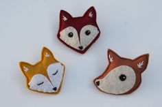 Forest Critters Brooch Fox Fawn Woodland by SavageSeeds on Etsy, $16.00