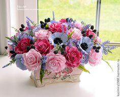 Купить Большой букет с анемонами и ежевикой - фуксия, малиновый, букет, цветы, букет из полимерной глины