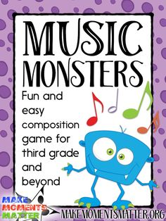 Monsters – Composition Game for Grade and Beyond A fun composition game for third grade and above.A fun composition game for third grade and above. Elementary Music Lessons, Music Lessons For Kids, Music Lesson Plans, Music For Kids, Music Education Lessons, Elementary Schools, Kindergarten Music Lessons, Online Music Lessons, Art Education