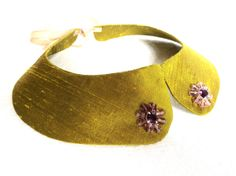Golden green collar necklace silk collarette by LoveThirties