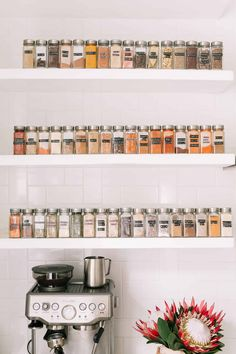 Spice Collection + Organization - A Beautiful Mess I originally got the idea to display our spices when The Home Edit organized our kitchen. Kitchen Organization Pantry, Spice Organization, Home Organisation, Spice Storage, Organizing, Pantry Design, Kitchen Design, Kitchen Interior, Kitchen Decor