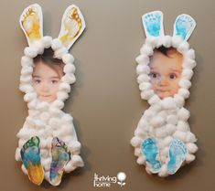 Super cute and easy Easter Cotton ball Bunny using a photo and kids footprints. #diy #crafts #Easter bunny