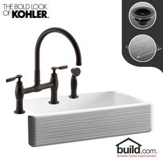 "View the Kohler K-6351/K-6131-4 Whitehaven Kitchen Kit with 35-11/16"" Cast Iron Single Basin Farmhouse Kitchen Sink and Swivel Spout Kitchen Faucet - Includes Basket Strainer and Basin Racks at Faucet.com."