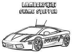 Printable Coloring Sheet Of Lamborghini Crime Stopper Cop Car ...