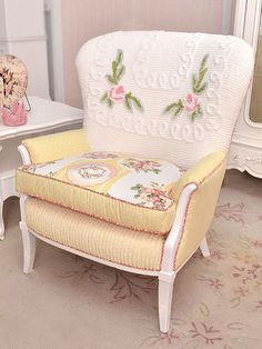 Darling Chenille Patchwork Bergere with Roses in Yellow