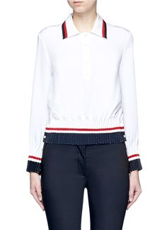 THOM BROWNE Stripe Pintuck Polo Silk Blouse. #thombrowne #cloth #blouse