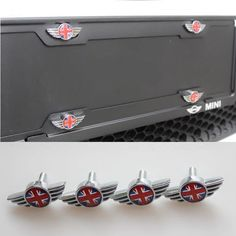 """MINI cooper Logo Screw and Cap set for License Plate Frame Union Jack Checker FEATURES High Quality chrome screws, inner cap and cap covers with MINI logo or Union Jack design. Perfect """"ultimate finishing touch"""" to your mini. Mini Cooper D, Mini Cooper Clubman, Girly Car, License Plate Frames, Union Jack, British Style, Car Accessories, Cap, Rainbow"""