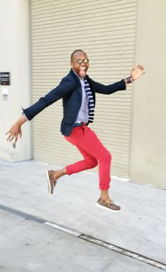 "the ""fun"" part   Blazer - @UrbanOutfitters  Washed Shirt - @Jcrew  Knit Tie - @AmericanEagle  Canvas Belt - @Jcrew  Slim Chinos - @Bonobos   Boat Shoes - @SperryTopsider  Time Piece - @Timex  Bracelets - @Etsy"
