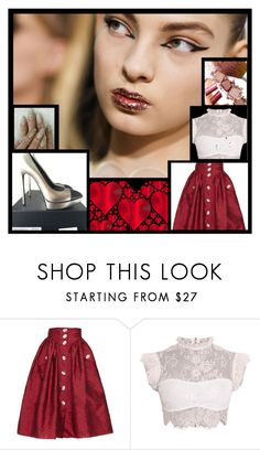 """Valentine"" by andrea-pok ❤ liked on Polyvore featuring A.W.A.K.E., Yves Saint Laurent, party and valentine"