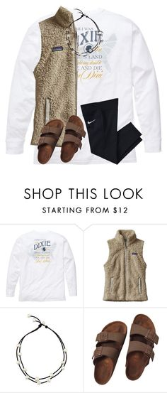 """""""uggh my bro is so annoying"""" by ponyboysgirlfriend ❤ liked on Polyvore featuring Southern Proper, Patagonia, Birkenstock and NIKE"""