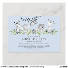 Sweet Safari Animals Baby Shower Book for Baby Enclosure Card Baby Shower Parties, Baby Shower Themes, Baby Boy Shower, Shower Ideas, Baby Showers, Safari Animals, Baby Animals, Congratulations Baby Boy, White Elephant Gifts
