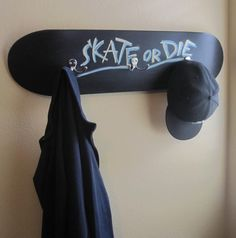 The Recycled Wall Hook : Black Cool Wall Hook Skateboard