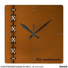 Look of Stitched Leather for the Leatherworker Square Wall Clock