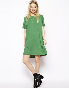 Asos Tshirt Dress with Short Sleeves in Green | Lyst