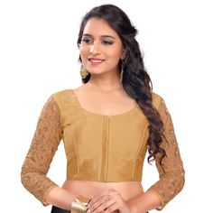 8bcd5b10f3924 Rinkoo Womens Designer Dupion Silk 3 4th Net Embroidered Sleeves Princess  Cut Padded Readymade Saree Blouse  Amazon.in  Clothing   Accessories
