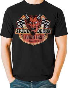 Speed Demon Living Fast Devil Hot Rod T Shirt 1950 Retro Small to 6XL Ships Free #PitStopShirtShop #GraphicTee