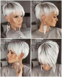 Short Silver Hair, Short Grey Hair, Short Hair With Layers, Hair Color For Black Hair, Short Hair Styles, Best Short Hair, Short Hair Designs, Funky Short Hair, Medium Hair Styles