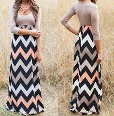 Long Sleeve Printed Color Wave Stripe Dress