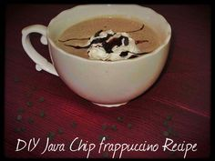 DIY Java Chip Frappuccino recipe made with International Delight Iced Coffee!  Mmm looks so good!  Thanks to @hippie_mom #IcedDelight #Recipe