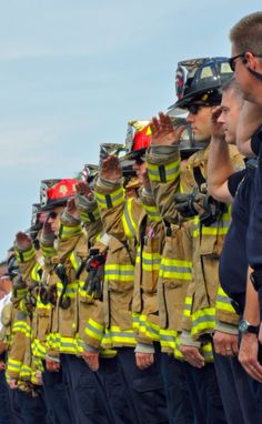 The firefighters qualified for their jobs by passing the tests of a rigorous training academy. Firefighter Paramedic, Wildland Firefighter, Firefighter Love, Volunteer Firefighter, Firefighters Wife, Fire Dept, Fire Department, Firefighter Photography, Firefighter Pictures